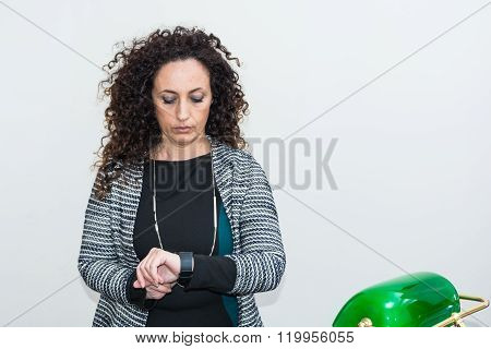 Mature Woman Modern Melancholy, Use The Smartwacth.