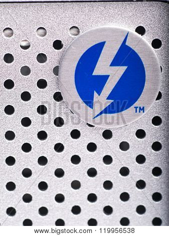 LONDON,UK-JAN.01: thunderbolt logo on an hard disk photographed on 18th january 2013 in LondonUK. Intel thunderbolt is a new connectivity solution that offer a speed of transfer faster 10 times compared to esata and older connection solution.