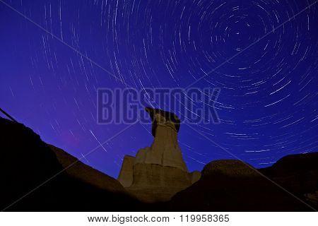 Drumheller Hoo Doo Night Shor star trails