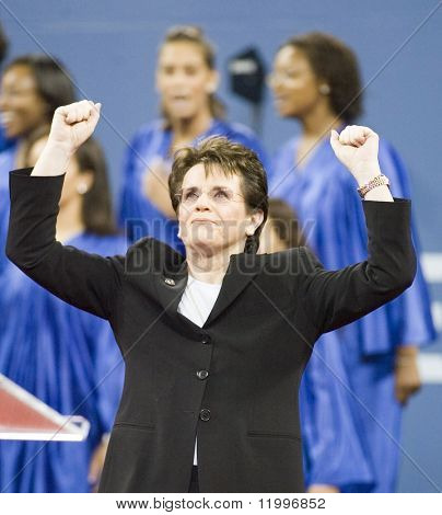 NEW YORK - AUGUST 28: Billie Jean King gestures during the opening ceremony of the US Open at the USTA Billie Jean King National Tennis Center on August 28, 2006 in Flushing, New York.