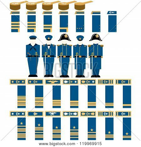 Insignia Confederate naval officers in the Civil War the United States. The illustration on a white background. poster