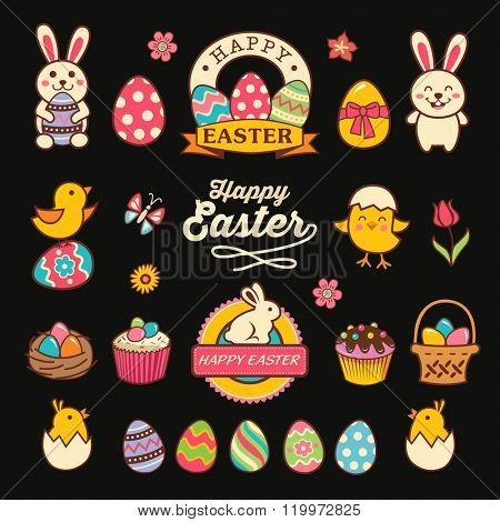 Happy easter design with labels, icons and decorative elements collection