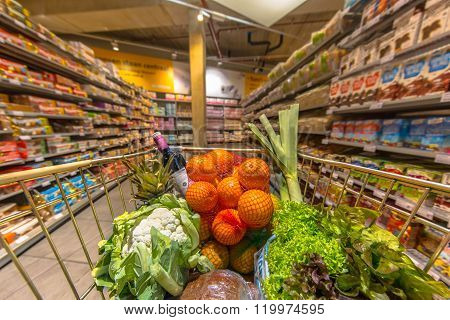 Supermarket Cart With Products