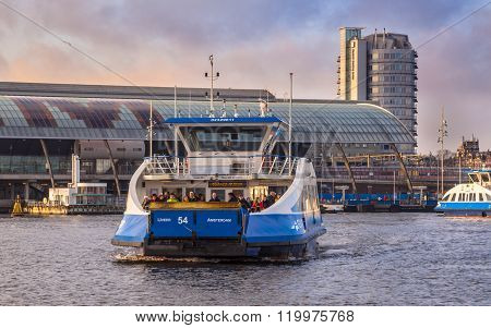 Ferry Over The Ij River In Amsterdam Centre