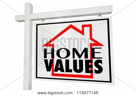 Home Values House for Sale Real Estate Sign Trends Asset Valuation Comps poster