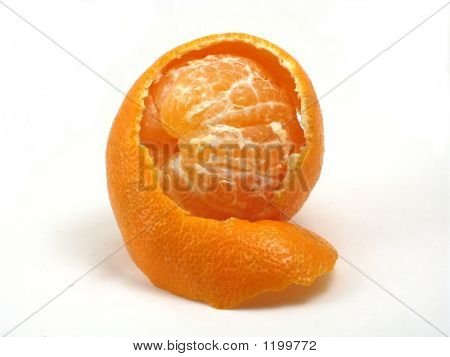Mandarin Orange Peeking Out Of Peel