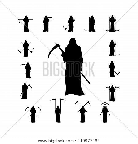 Set death with a scythe silhouette