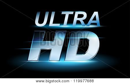 Silver UHD icon, ultra high definition logo