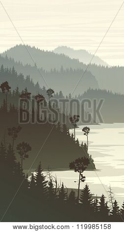 Vertical Illustration Of Misty Forest Hills On Rocky Seashore.
