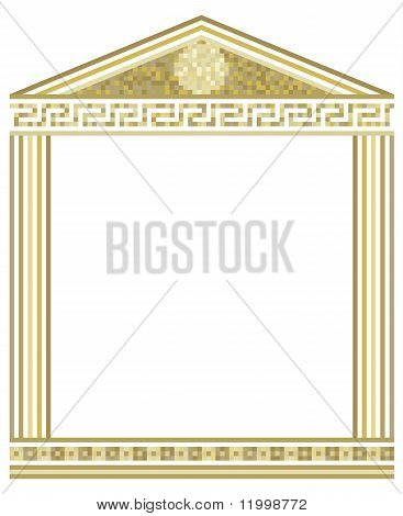 Illustration of Greek columns with mosaic on top poster
