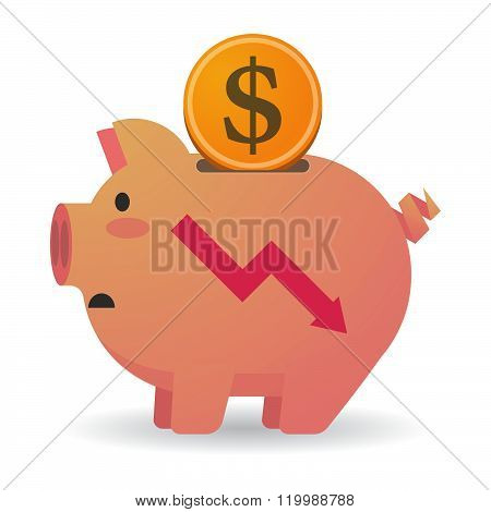 Isolated Piggy Bank With A Descending Graph