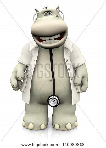 Smiling Cartoon Hippo Doctor.