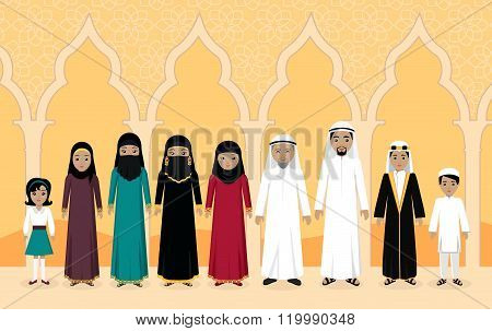 Arabian Family People Design Flat