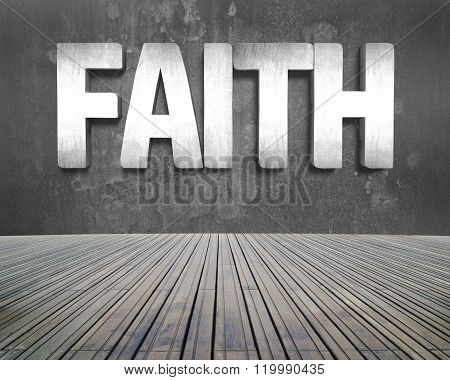 Faith Word On Concrete Wall With Wooden Floor