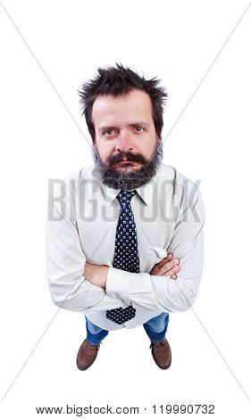 Man With Funny Hair And Bushy Beard Looking Up
