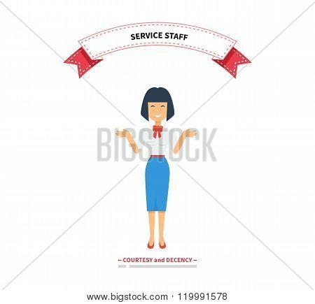Service Staff Woman Design Flat