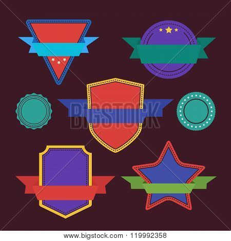 Vector badges flat vintage style. Design badges. Set of vector badges, label and sticker. Colorful badges. Isolated badges set. Abstract badges. Flat badges. Different badges set. Ribbon badges. Badges icon collection. Advertisement badges. Blank badges.