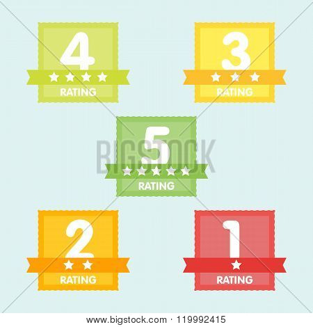 Rating label with five different label with star and place icon. Vector illustration.aRating label with five different label with star and place icon. Rating icon. Rating stars badges. Rating tags. Rating badges. Ribbon rating. Isolated rating elements. R