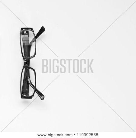 Glasses on white, isolated. Above view. White background.