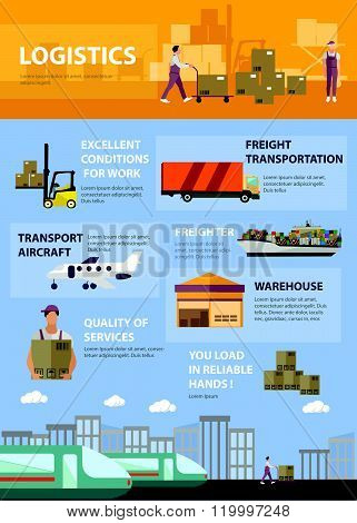 Logistic and transportation concept poster in flat style. Warehouse, delivery, shipping infographic.