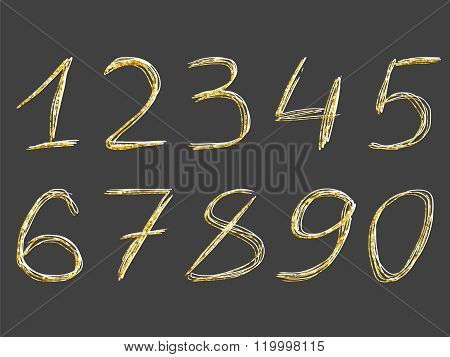Golden Glitter Pencil Doodle Effect Numbers 1