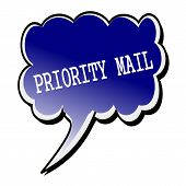 Priority Mail white stamp text on blueblack Speech Bubble poster