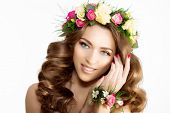 Spring woman Young  Girl flowers Beautiful model wreath bracelet Bride bridesmaid makeup spa Lady make up Products Treatment poster