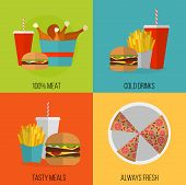Fast Food Vector Concept banner. Lunch french fries chicken donut pizza burger soda. Flat design cheeseburger hamburger and restaurant menu elements. Vector poster of unhealthy fast food eating poster