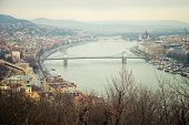 top view from the Gellert Hille of the Chain Bridge in Budapest poster
