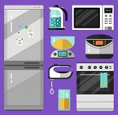 Vector flat icons set of appliance. Fridge, microwave oven, mixer, electric scales, electric kettle, measuring cup, stove, breadmaker or multicooker. Kitchen utensils illustration. poster