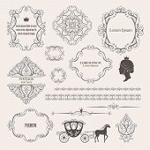 Mega set collections of vintage design elements. Royalty frames, borders, dividers, damask signs, carriage in brown color on beige. Vector illustration. Can use for birthday card, wedding invitations. poster