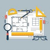 Architectural blueprints and drawing tools. Workplace of architect. Draft plan of building house. Vector flat. Drawing ruler compass protractor magnifying glass violin. poster