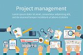 Project management concept. Business team work on projects. Brainstorming. Business meeting planning strategy analysis marketing research financial management. Flat design vector. poster