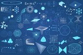 Big collection of elements symbols and schemes of physics chemistry and sacred geometry. The science theme. poster