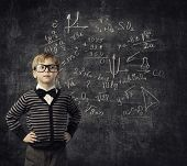Child in Glasses Learning Mathematics Children Education Student Kid Learn Math poster