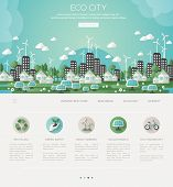 Green eco city and sustainable architecture banner. Vector illustration. Buildings with solar panels and windmills. One page web design template with flat eco icons. Concept of Eco Technology. poster