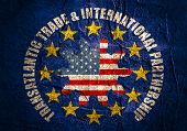 TTIP - Transatlantic Trade and Investment Partnership. Europe and USA association poster