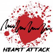Heart attack logotype. Creative hand drawn logo with splashes in shape of red heart symbolizing heart attack. Stylized heart attack creative cardiology logo. Isolated on white. Vector illustration poster