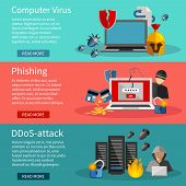 Horizontal  hacker banners set with icons of DDOS attacks on computer systems  phishing and computer viruses vector illustration poster