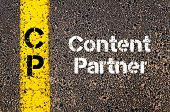 Concept image of Business Acronym CP Content Partner written over road marking yellow paint line poster