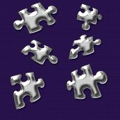 silver 3d puzzle pieces on purple background poster