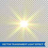 Vector defocused shining sun ray of light. Twinkling sunlight spark. Bright glaring light flash with lens flare optical effect isolated on transparent background poster