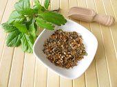 Midland hawthorn flowers, Crataegi flos, in herbal medicine poster