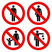 No man sign No woman sign Parent and child sign No littering sign. Prohibited Signs isolated on white background poster