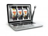 Casino online concept, gambling. Laptop slot machine. 3d poster