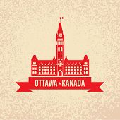 Centre Block and the Peace Tower - The symbol of Ottawa, Canada Silhouette of the government building on Parliament Hill, Ottawa, Ontario, Canada. poster