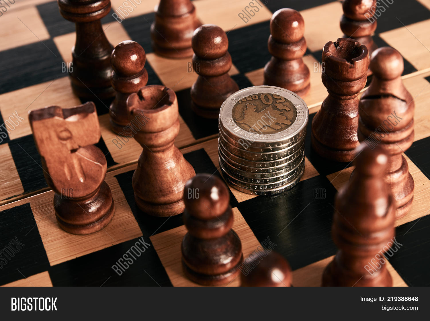 Chess Pieces Coins Image Photo Free Trial Bigstock