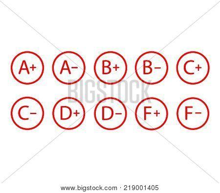 Grade results, grade symbols vector illustration. set