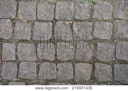 Close view of granite setts road pavement