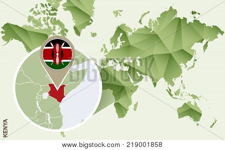 Infographic for Kenya detailed map of Kenya with flag. Vector Info graphic green map.